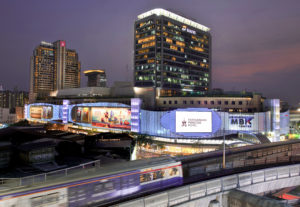 Pathumwan by night with Sky Train