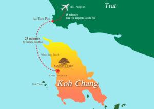 Fly fra Bangkok til Trat og båt til øya